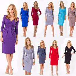 Wholesale Drop Ship Bohemian Dress - Free Shipping Women's Wrap Dress V-Neck Cocktail Jersey Office Bubble Women Ladies Dress Plus Size 2018