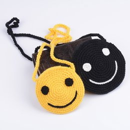 Wholesale New Crochet Cute Bag - 2017 New Arrival Children Crossbody Messenger Bag Wallet Handmade Crochet Cute Smile Bags Cotton Handbag Girls Mini Coin Bag Kids Beach Bag