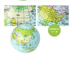 Wholesale Other Educational Toys - New Pvc material inflatable globe with world map educational toy inflatable kids beach ball free shipping