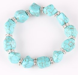 Wholesale Turquoise Jewelry Beads For Sale - Hot Sale Bracelet For Women Fashion Natural Turquoise Bracelet & bangles Blue Green Beads Adjustable Stretch Bracelet Jewelry