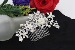Wholesale Diamonds Hair Comb - Pearl inlay diamond bride insert combs plate bridal headdress hair jewelry wedding alloy accessories
