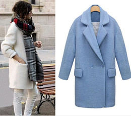 Wholesale Long Woolen Coats - US UK 2018 Autumn Winter Classic Simple Women Oversized Woolen Tweed Coat and Jacket Overcoat casaco feminino Manteau femme