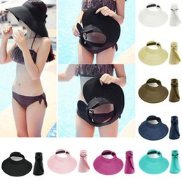 Wholesale Roll Up Visor Hat - New WomenLadies Summer Wide Brim Roll Up Foldable Straw Visor Sun Beach Hat Cap