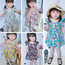 Wholesale Teal Dress Knee Length - children clothes teal floral baby girls beach dress summer backless baby dress for party cotton fluffy sleeve baby clothes