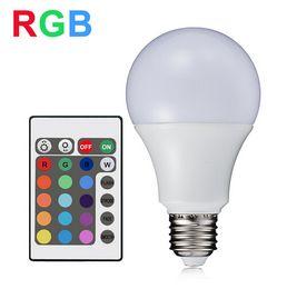 Wholesale Change Colors Bulb - RGB LED Light 7W E27 SMD5050 LED RGB Lamp 110V 220V Bombillas LED Bulb Home Decoration 16 Colors Change IR Remote Controller A80