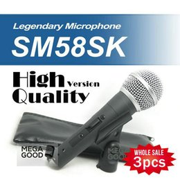 Wholesale Best Karaoke Microphone - best microfono Wholesales 3pcs High Quality SM 58 58S SM58S SM58SK Dynamic Handheld Karaoke Wired Microphone with on off Switc free mikrafon