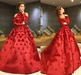 Wholesale Black Halter Ball Gowns Prom - Red High Neck Myriam Fares Evening Dresses 2017 Halter Long Sleeves Appliques Beaded Satin Ball Gown Celebrity Dresses Formal Prom Dresses