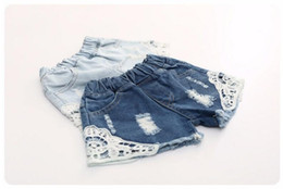 Wholesale Jeans Children Girls For Summer - Girl summer denim trousers Children Pants for girls Jeans Shorts with laces ripped beach Factory Sale Child Clothing wave