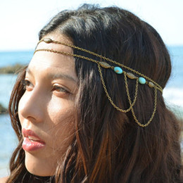 Wholesale Bronze Headband - Bohemian Women Girl Turquoise Oval Beads Multilayer Headbands Bronze Tassel Chain Headpiece Jewelry Lots 10 Pcs