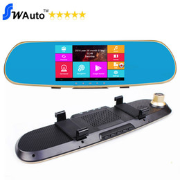 "Wholesale Rearview Mirror Gps Android - 5"" Android GPS DVR Mirror Car DVR Android 4.4.2 Capacitive Screen 1920*1080P 30fps Front Camera And Rear Camera Support PIP"