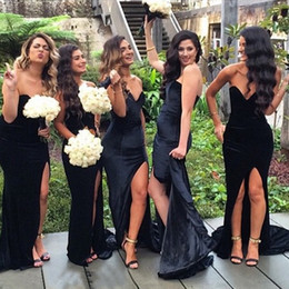 Wholesale Dark Blue Velvet Bridesmaid Dresses - 2017 New Sweetheart Black Velvet Long Bridesmaid Dresses Mermaid Split Wedding Party Maid Of Honor Gowns Cheap Wedding Guest Dress
