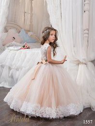 Wholesale Beaded Ballgown Wedding Gowns - 2017 Flower Girls Dresses with Beaded Sash and Crew Neck Appliques Blush Tulle Ballgown First Communion Gowns for Toddler Floor Length