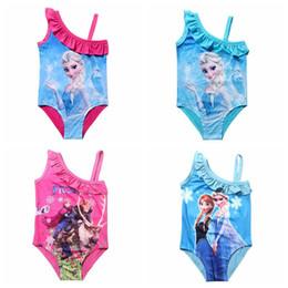 Wholesale Kids Piece Character Costumes - Kids Swimsuit 4-12Y Girls Elsa Swim Costume Anna Swimwear Children Sunbath Beachwear Frozen Bikini Bathing Suits for Girls