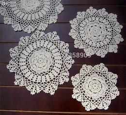"""Wholesale Hand Doily - Wholesale-20cm(7.8"""") 20pcs lot Beige white Hand Made Crochet doily placemat coasters placemat set shabby chic place mats doilies"""