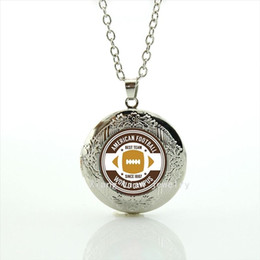 Wholesale Males Silver Pendants - Fashionable bijoux locket necklace America Newest mix 32 sportrugby football locket jewelry gift for female and male friends NF088