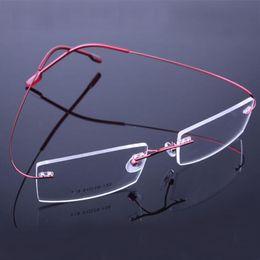 Wholesale Prescription Glasses Frames - 2017 Retail 9 colors fashion rimless glasses frames fashion memory titanium eyeglasses frames prescription optical frames