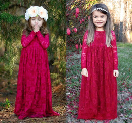 Wholesale Designer Evening Wear - Fuchsia Ivory A Line Designer Lace Flower Girl Dresses Jewel Neck Princess Long Sleeves Kids Girls Formal Evening Party Wear Cheap MC0366