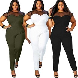 38ed79a0abec Wholesale- Women Sexy Mesh Patchwork Skinny Rompers Jumpsuit Ladies Hollow  Out Playsuit Stretchy Jumpsuit Overalls Plus size YF271