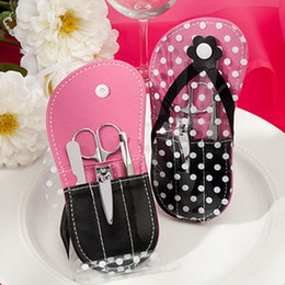 chanclas de regalo de boda Rebajas 100Bags / Lot + Flip Flop Design Set de manicura Beauty Sets BridalWedding favores de la ducha y regalo para invitados + ENVÍO GRATIS