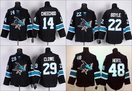 Wholesale 48 Sharks Jersey - 2016 Men's San Jose Sharks Hockey Jerseys 48 Tomas Hertl 29 Ryane Clowe 14 Jonathan Cheechoo 22 Dan Boyle Jersey Black Stitched size S-3XL