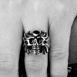Wholesale Skull Rings Box - Wholesale Cheap Skull Ring For Men Rings with Box Skeleton Stainless Steel Jewelry For Man Punk Rock Vintage Design Biker Ring RG-077