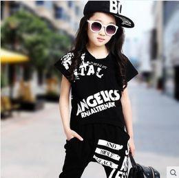 Wholesale Dance Pants Children - Hip-Hop Style 2016 Summer Girls Fashion Short-Sleeve Dancing Clothing Set Kid Tees Harem Pant Twinset Children Sport Clothes G19