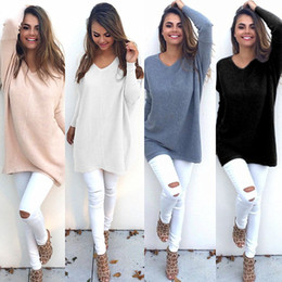 Wholesale Plain Shirts Women - New Winter Long Sweater For Women Long Sleeve V-Neck Loose Casual Knitwear Fashion Plain Knit Tee Shirt DYG0906