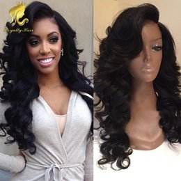 Wholesale Long Black Wavy Lace Wigs - Top Quality 130% density Human Peruvian Front Lace Wigs   Full Lace Wig wavy Human Hair for Black Women with baby hair