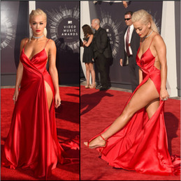 Wholesale Cross Thigh Highs - Backless High Thigh Split New Fashion Rita Ora Sexy Red Carpet Dresses 2016 V-neck Spaghetti Strap Celebrity Evening Dresses