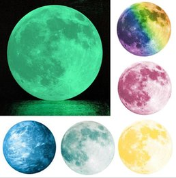 Wholesale Luminous Wall Stickers For Children - The diameter of 30 luminous stickers children room decoration luminous moon earth wall stickers PVC removeable wall stiickers
