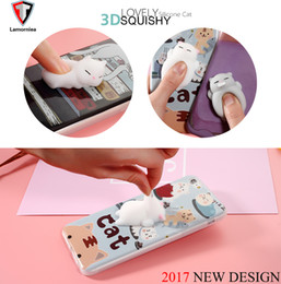 Wholesale 3d Animals Phone Covers - Lamorniea Phone Case for iPhone 6 6S 6 plus 3D Cute Soft Silicone Squishy Cat for iPhone 7 7 plus 5S Cover Animal Kitty