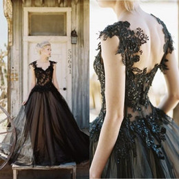Wholesale Cheap Gothic Gowns - Vintage 2016 New Arrival Black Tulle Lace Applique A-line Wedding Dresses Cheap Gothic Beaded Backless Long Bridal Gowns Custom EN10133