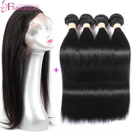 Wholesale Human Hair Style - New Style 360 Lace Frontal closure 4Pc lot Straight Brazilian Human Hair Weaves Brazilian Virgin Hair Wefts 22x4x2 360 Lace Frontal Closure