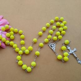 Rosário quente Colar Longo Design Contas Amarelas de Vidro Colar de Mulheres Religiosas Acessórios de Jóias Camisola Cadeia Por Atacado de