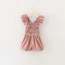 Wholesale Girl 7t Clothing - Retail 2016 New Girl Overalls Pants Lace Ruffle Cotton Summer One Piece Pants Wholesale Children Clothing 2-7T 16887