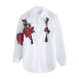Wholesale organza tops - Fashion Women Chiffon Blusas Organza Flower Embroidery Hollow Out Long Sleeve Shirt Blouse Clothes Tops Plus Size
