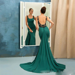Wholesale sheath column square chiffon lace - Dark Green Sexy Mermaid Evening Dresses Square Neck Backless Sheath Prom Gowns with Lace Appliques Long Formal Dresses