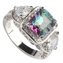 Wholesale Mystic Rainbow Rings - Copper Rhodium Plated Romantic Rings Rainbow Fire Mystic Cubic Zirconia Favourite MN3318 sz#6 7 8 9 Noble Generous Best Sellers New pattern