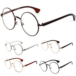 Wholesale Trendy Frames For Glasses - Wholesale- Trendy Round Clear Lens Eyeglasses Spectacles Metal Frame Glasses For Women Men Optical Frames 5Colors