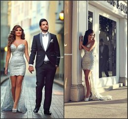 Wholesale Hi Low Rhinestone Dresses - Said Mhamad Silver High Low Prom Dresses Beaded Rhinestones Sequins Sexy Cocktail Dresses Sassy Sheath Lace Formal Party Dresses BO7724