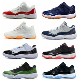 red athletic Coupons - 11 Low White Red Navy Gum Basketball Shoes Bred Georgetown Space Jam Citrus GS Basketball Sneakers Women Men 11s Low Athletic XI