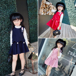 Wholesale Set Children 3pcs Suits Skirt - Autumn Sweet Girl Outfits Fashion Baby Kids Clothing Cute Venonat Children Clothing Sets Undershirt + Waistcoat + Skirt 3pcs Suits Love 9485