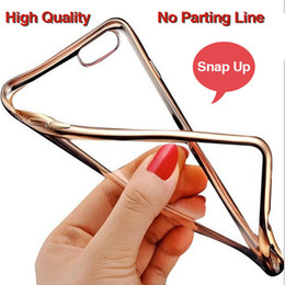 Wholesale Electroplating Battery - Luxury Ultra Thin Soft Tpu Transparent Clear Electroplating Plating TPU Case For iphone 6 6s 7 Plus Case Back Cover DHL Free