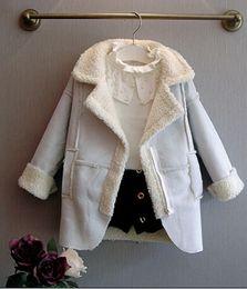 Wholesale Thick Sheepskin Jacket - Autumn and winter girls imitation deerskin sheepskin jacket long thick woolen coat children's coat