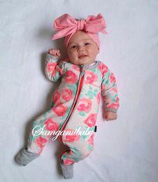 Wholesale Cheap Sleeve Jumpsuits - New Side Zipper Baby Girl's Boy's One Piece Garment Newborn Long Sleeve Rose Print Toddler Jumpsuit Spring Autumn Cheap Cotton Romper MC0159
