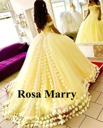 Wholesale Melon Quinceanera Dresses - 2017 Yellow Ball Gown Quinceanera Dresses 3D Hand Made Flowers Off Shoulder Sweet 16 Plus Size Princess Tulle Cheap Masquerade Prom Gowns