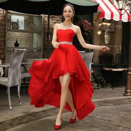 Wholesale Short Dress Party Color Black - High Low Sweetheart Beaded Bridesmaid Dress Plus Size 2017 Chiffon Party Dress Short Front Long Back