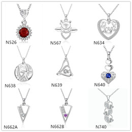 Wholesale mixed crystal pendant 925 - Triangle heart shape 925 silver Necklace(with chain) 10 pieces a lot mixed style,women's gemstone sterling silver Pendant Necklace EMP21