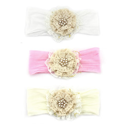 Wholesale Vintage Lace Headbands Newborn - Vintage Baby Headband with Lace Pearl and Rhinestone Elastic Hair Floral Accessories Newborn Photography Props 12pcs lot QueenBaby