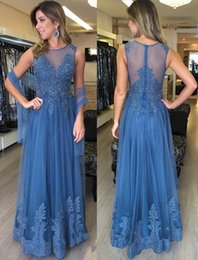 Wholesale Event Jackets - Elegant Blue Tulle Formal Prom Dresses 2017 Lace Appliques Beaded Sheer Bodice Long Evening Event Wears Special Occasion Gowns